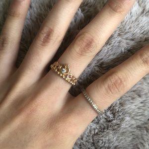 Rose gold princess tiara ring